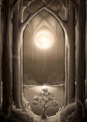 temple night moon tree trees foliage forest fantasy surreal illustration