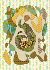 digital art abstract pattern mother earth animal stylized abstracted peacock tiger line drawing turtle snake alligator cheetah garment robe floral geometric daffodil sad face unhappy contemplative suffering thoughtful pondering deep reflecting thinking crying weeping save our planet conceptual nature natural plants life living