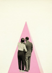 pink black white grey people love romance romantic triangle collage vintage man woman lovers geometric abstract