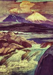 mountain sky sunset clouds lake waterfall stream rocks snow japan japanese ukiyoe