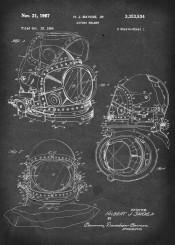 diving helmet vintage patent illustration scuba
