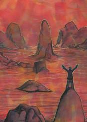 sunrise daylight red orange painting man rocks mountains water sea sun