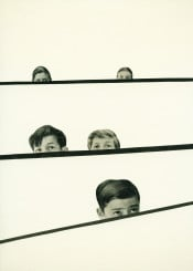 collage boys kids children vintage minimal humour funny black grey white face eyes 1950s fifties playful stripes abstract people