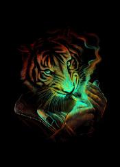 tiger light animal cigar cigarette smoke fire unique art design digital