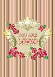 you are loved red roses ornament gold emerald leaves ornate gradation gradient jewel toned ruby pink green stripes striped matching frame golden perals flowers floral botanical illustration victorian classical traditional motifs elegant beautiful swirl lovely feminine stylized gorgeous medieval ornamental ornamentation home decor fancy flourish art nouveau pretty sweet fashionable
