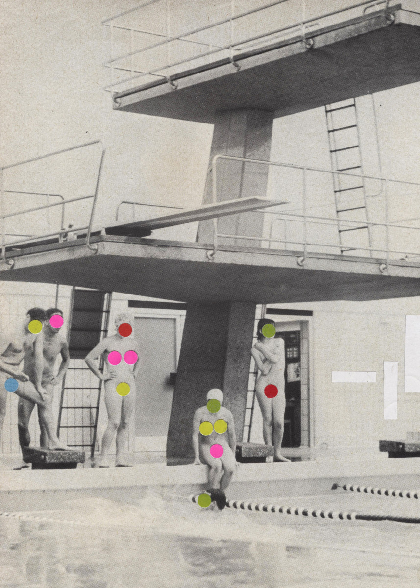 Modesty. A mid century swimming pool collage by Cassia. 157988