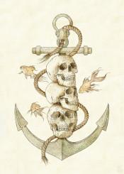 skull skeleton vintage pirate sailor anchor sea fish goldfish animal