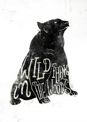 bear wild animal woods black white retro letters