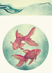 goldfish fish animal sea vintage retro