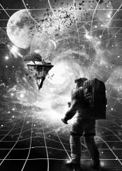 astronaut space house tree nature rock wormhole stars planets fantasy island floating moon galaxy milkyway interstellar gravity