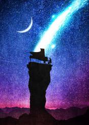designstudio pianoman piano night stars space magic rock cliff pianist music illustration blue purple fantasy surreal silhouette moon symphony