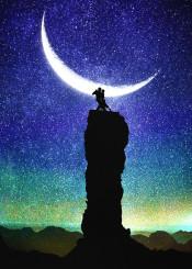 designstudio moon night stars space waltz dance man woman couple dancers music moonlight silhouette blue dark starry illustration digital fantasy dream mystical romantic love