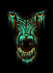 wolf wolves animal unique colors neon digital art design illustraion colorful gray