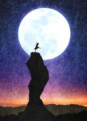 designstudio moon stars space sunset lunar music song dance ballet woman girl rocks night starry fantasy dream whimsical magical illustration silhouette dancing blue orange