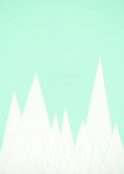 mountains landscape snow winter cool minimalist simple collage white mint green pale pastel geometric modern