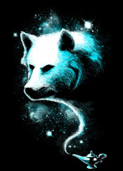 wolf enchanted magic space stars universe lamp wolves animal unique digital art design