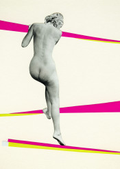 people woman female person figure nude naked climb stripes vintage modern pink yellow grey collage portrait surreal