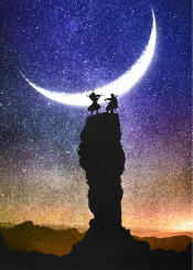 designstudio moon lunar sky night nightfall stars starry sunset blue dark violin woman girl man boy cello rocks cliff music classical vector silhouette illustration space sonata