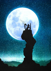 designstudio moon lunar stars starry night blue space harp woman music song melody lullaby midnight silhouette birds magical fantasy surreal