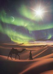 desert wander traveller man camel sand egypt star christmas aurora borealis moon sun magic sunset