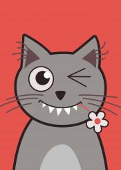 cat cats wink winking kitty kitties kitten cute smile smiling sweet lovely flower bright animal animals vector cartoon face