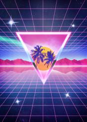 electric 80s 1980 cyber retro neon memorabilia futuristic futurism computer palms grid stars