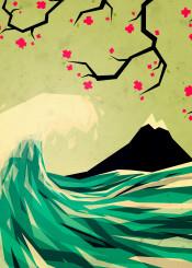 wave blossom japan mountain ocean sea