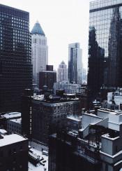 nyc newyork winter skyline manhattan skyscrapper