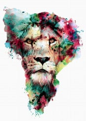 lion wild cat african animals watercolor colors abstract collage digital hunter strong rizapekerart