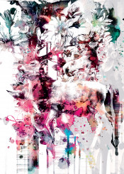 wild animals deer floral abstract colorful colors collage creative artist cool design