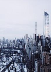 nyc newyork newyorkcity winter snow urban park centralpark skyscrapper