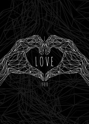 valentines day love art geometric line digital typography i you hands quote life
