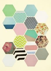 abstract geometric honeycomb pattern hexagons stripes triangles floral flowers modern retro vintage blue mint green pink black white grey pastel