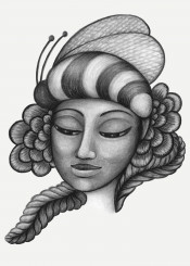 bumblebee bee hat woman girl face flower leaf charcoal drawing insect
