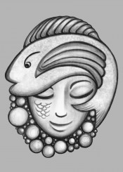 fish face girl woman ocean bubbles hat charcoal drawing
