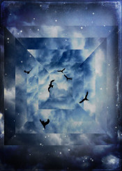 blue birds clouds abstraction frame geometry fractured fragmented textured photograph stars fantasy square composing composition illustration