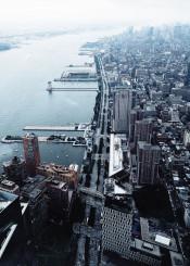 nyc newyork fog manhattan architecture view urban river