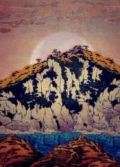 japanese ukiyoe vintage pink blue green brown red hills moonrise moon lake clouds sky