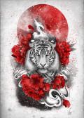 White tiger, red sun
