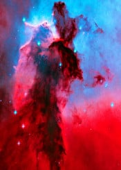 eagle nebula stellar spires red blue