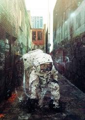 scifi illustration digitalart surrealism astronaut alley