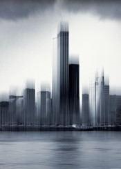 urban architecture city rotterdam skyline monochrome motion blur manipulation abstraction photography river buildings skyscrapers reflections texture netherlands silhouettes