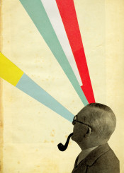 vintage collage man gentleman pipe tobacco smoke hallucination drugs mind stripes colourful modern figure male red white blue yellow green bold
