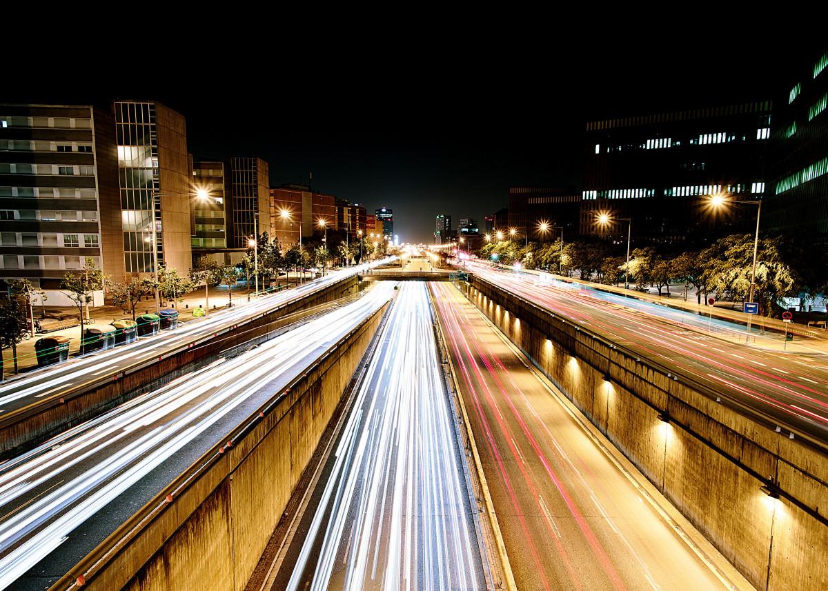 Barcelona traffic at night