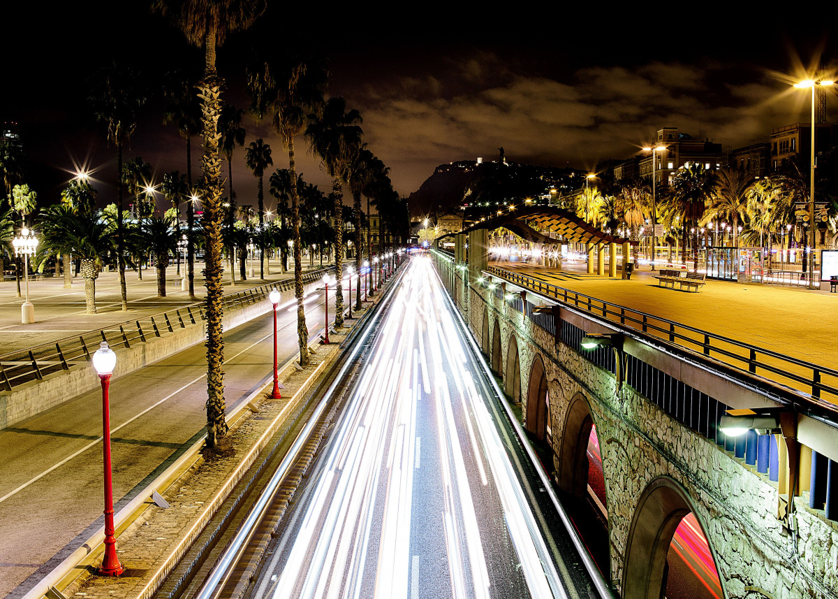 Barcelona traffic lights near by Barceloneta beach