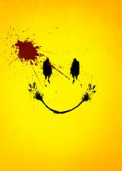 watchmen smile face blood splatter effect yellow red black