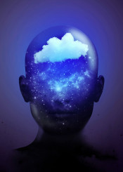 clouding cloud memory surreal transparent glass face abstract blue neon violet shine stars galaxy space dark black still minimal