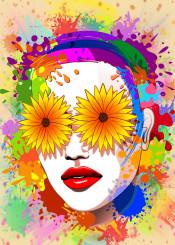 girl portrait popart urbanart summer flowers paintstains wallart popgirl fashiongirl summergirl girlportrait graphicart stains paintsplats colorful summermood beautifulgirl makeup glamour surrealgirl surrealart woman portraiture