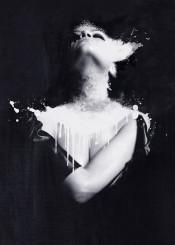 black white portrait digital art model dark abstract surreal high quality print