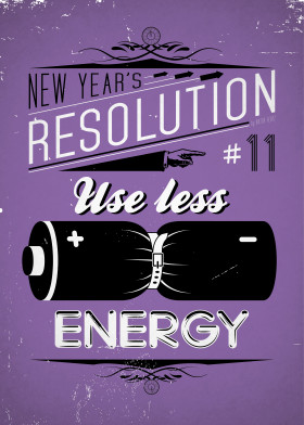 new year years resolution vintage typography poster energy battery